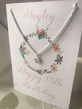 Personalizado Tarjetas De Cumpleaños 13 16th 18th 21st Plus Joya Collar Regalo X
