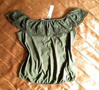 ESPRIT CARMEN OFF SHOULDER SHIRT KHAKI GRÜN GREEN LOCHSTICKEREI XL, 42 NEU