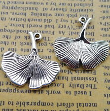 8pcs Charms ginkgo Leaf  Antiqued silver Beads Pendant DIY 25*25mm
