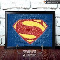 Superman Superhero Word Art Novelty Gift Print Personalised Birthday Anniversary