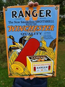 OLD VINTAGE 1950'S RANGER FIREARMS PORCELAIN SIGN WINCHESTER SHOTSHELL AMMO