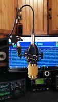 Condenser MIC +Suspension Scissor Arm 4 ICOM KENWOOD YAESU  & FLEX ELECRAFT K3