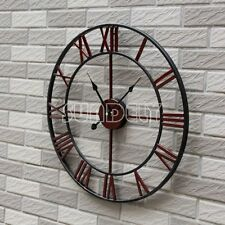 Antique Distressed Skeleton Country Style Metal Oversize Wall Clock 47cm