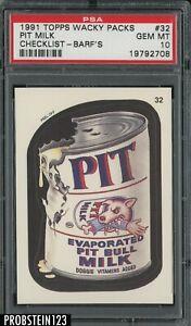 1991 Topps Wacky Packs Checklist - Barf's #32 Pit Milk PSA 10 GEM MT