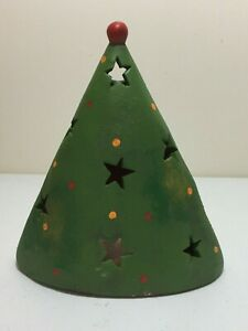 TERRA COTTA POTTERY PAINTED CHRISTMAS TREE CANDLE HOLDER DECORATION FIGURE