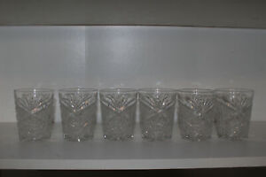 "SET OF 6 LIBBEY NEW BRILLIANT CUT GLASS 3.75"" OLD FASHIONED TUMBLERS-SIGNED"
