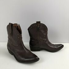 LUCKY BRAND Brown Leather Western-Style Ankle Zip Boots w/Brass Detail Sz 7.5