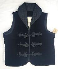 Denim & Supply Ralph Lauren Braided  Velvet Vest Black Retail $145 SIZE SMALL