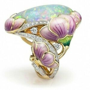 Fashion 18K Gold Floral Ring Oval Cut Opal Jewelry Gift Wedding Party Rings Size