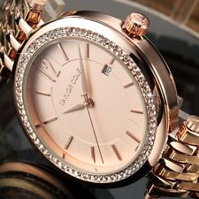 Taylor Cole Fashion Rose Gold Date Stainless Steel Quartz Wrist Lady Women Watch