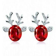 Luxury Deer Design Silver Winter Red Stud Earrings Crystal Christmas Gift 01