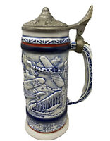 Vintage Collector TRIBUTE AVIATION  USA Lidded Beer Stein  MUG Aircraft History