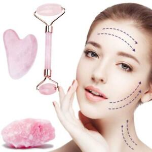 Rose Quartz Jade Roller & Gua Sha Face Body Therapy Massager Stone Beauty