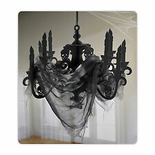 Halloween Large Paper Chandelier With Gauze Haunted House Black Decoration