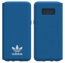 GENUINE ADIDAS ORIGINALS BLUE LEATHER FLIP CASE BOOKLET FOR SAMSUNG GALAXY S8