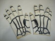 Adults White Skeleton Design Latex Rubber Halloween Fancy Dress Gloves