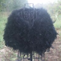 Women Fashion Ostrich Feather Furry Fur Wedding Bride Cape Stole Shawl Coat Wrap