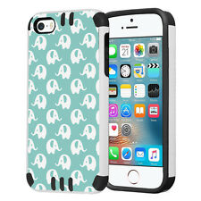 Hybrid Dual Layer Armor Case for iPhone SE / 5S / 5 - Mint Elephant