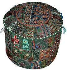 Indian Vintage Pouf Ottoman Mandala Square Cover Pouffe Foot Stool Cover Decor