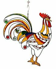 Atlantic Collectibles Large Hanging Rise & Shine Colorful Gem Rooster Stained