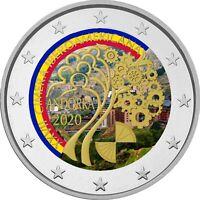 2 Euro Gedenkmünze Andorra 2020 coloriert / mit Farbe  Farbmünze Iberoamerika 2