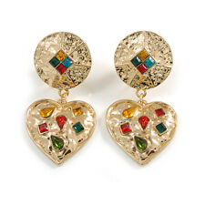 Statement Gold Tone Hammered Multicoloured Crystal Heart Clip On Earrings -