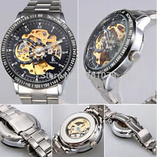 Super Mens Stainless Steel Skeleton Automatic Mechanical Sport Army Wrist Watch