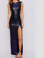 True Decadence Tall Sequin Maxi Dress With Front Split Navy Blue 8 to14