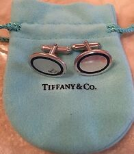RETIRED TIFFANY & CO STERLING SILVER AND BLUE ENAMEL OVAL CUFFLINKS  - $300!!!