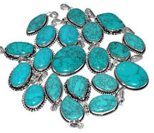 20 PCs. Lot !! Natural TURQUOISE 925 Sterling Silver Plated Necklace Pendant