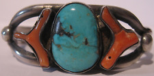 VINTAGE NAVAJO INDIAN SILVER TURQUOISE & CORAL CUFF BRACELET