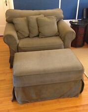 Wide Chair (and a half) & Ottoman Upholstered with Slip Covers