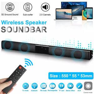 Bluetooth Soundbar Subwoofer TV Sound Heimkino Lautsprecher mit Fernbedienung