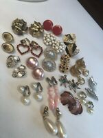 Vintage Clip Earring Lot Signed Coro Fish Rhinestone  MOP Crystal Art Lot Of 18