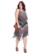TAYLOR Sleeveless Chiffon Popover Dress In Geo Print w handkerchief hem 20W 2X