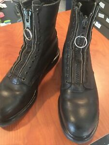 Red Wing Black Leather Steel Toe Boots With Zip Up Kit Installed 4473 Size 12 D