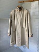Women's Burberry London Beige Nova Check Single Breasted Coat UK18 US16