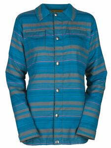 Bonfire Boro Snap-Up Shirt/Jacket, Women's Medium, Indigo Peyote Stripe Blue New