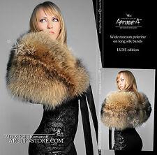Extra WIDE full fur PELERINE women's collar boa cape Russian Raccoon