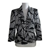 Kasper Womens Blazer Suit Jacket Coat Black White Button 3/4 Sleeves Work Size 6
