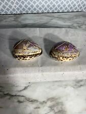 2 Hand Carved CONCH SEA SHELL Philippines Souvenirs