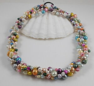 Colourful Baroque Freshwater Pearl Necklace & Magic Clasp Shortener  18''- 40''
