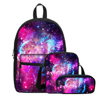 Galaxy Space Print Backpack Canvas School Equipment Bag Value Set Sling Pen Bag