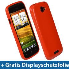 Rot Glänzend Tasche für HTC One S Android Gel TPU Hülle Case Etui Eins 1