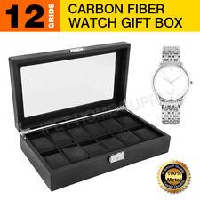 89e1a907f 12 Grids Carbon Fiber Watch Gift Box Storage Case Jewelry Display Organizer