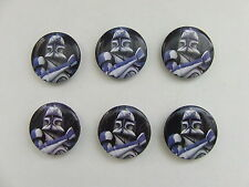 """Star Wars Blue Clone Trooper Captain CT-7567 1"""" Round Magnets 2011 Lot Of 6"""
