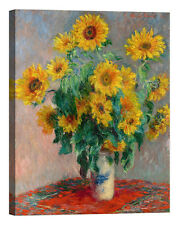Claude Monet Sunflowers Stampa su tela Canvas effetto dipinto