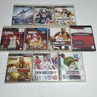 Sony PS3 PlayStation 3 Sports Game Lot of 10 NFL NBA UFC FIFA PGA Mint Discs