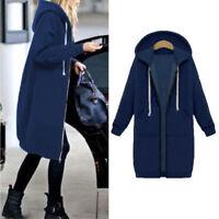 Hot Women's Warm Zip Up Open Hoodie Sweatshirt Long Coat Hooded Jacket Outerwear