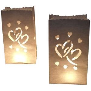 10 Stück Lichttüten Herzen - für Teelichter Hochzeit Doppelherz Deko Hochzeit